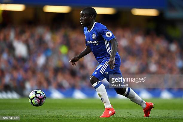 Golo Kante of Chelsea in action during the Premier League match between Chelsea and West Ham United at Stamford Bridge on August 15 2016 in London...