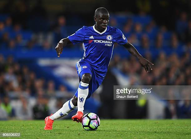 Golo Kante of Chelsea in action during the Premier League match between Chelsea and Liverpool at Stamford Bridge on September 16 2016 in London...