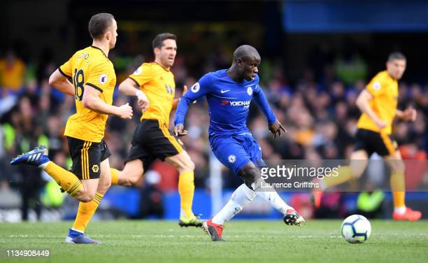 N'golo Kante of Chelsea in action during the Premier League match between Chelsea FC and Wolverhampton Wanderers at Stamford Bridge on March 10 2019...