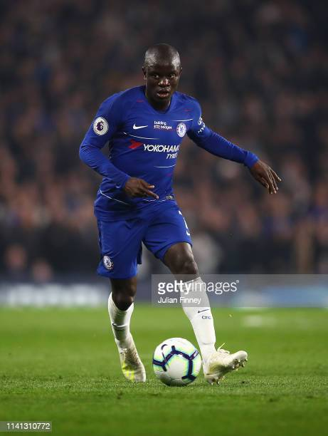 Golo Kante of Chelsea in action during the Premier League match between Chelsea FC and West Ham United at Stamford Bridge on April 08 2019 in London...