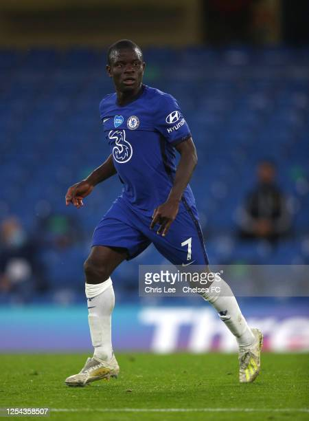Golo Kante of Chelsea in action during the Premier League match between Chelsea FC and Watford FC at Stamford Bridge on July 04 2020 in London...