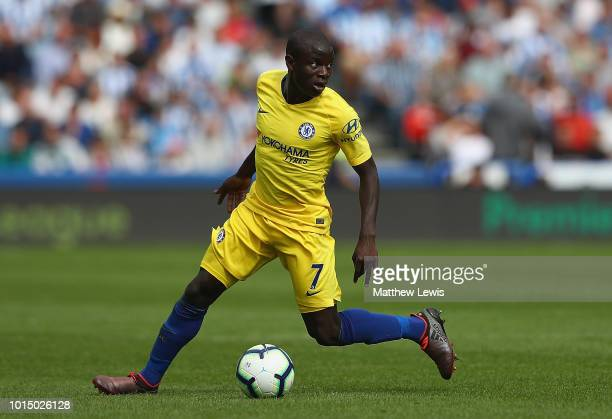 Golo Kante of Chelsea in action during the Premier League match between Huddersfield Town and Chelsea FC at John Smith's Stadium on August 11 2018 in...