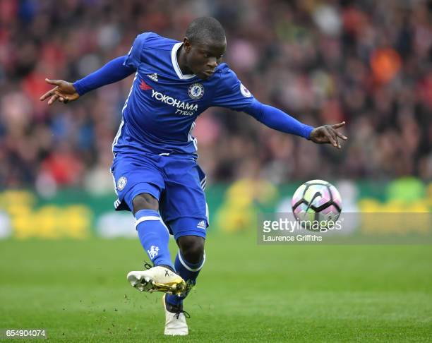 Golo Kante of Chelsea in action during the Premier League match between Stoke City and Chelsea at Bet365 Stadium on March 18 2017 in Stoke on Trent...