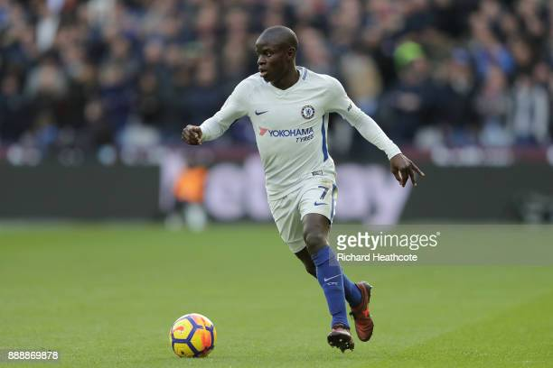 Golo Kante of Chelsea in action during the Premier League match between West Ham United and Chelsea at London Stadium on December 9 2017 in London...