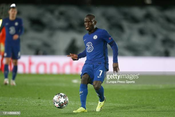 Golo Kante of Chelsea in action during the UEFA Champions League Semi Final First Leg football match played between Real Madrid and Chelsea FC at...