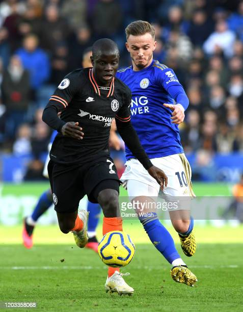 Golo Kante of Chelsea is challenged by James Maddison of Leicester City during the Premier League match between Leicester City and Chelsea FC at The...