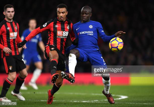 Golo Kante of Chelsea is challenged by Junior Stanislas of AFC Bournemouth during the Premier League match between Chelsea and AFC Bournemouth at...