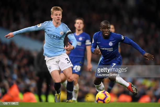 N'golo Kante of Chelsea is challenged by Oleksandr Zinchenko of Manchester City during the Premier League match between Manchester City and Chelsea...