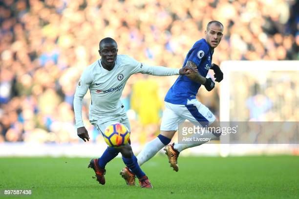 Golo Kante of Chelsea is challenged by Sandro Ramirez of Everton during the Premier League match between Everton and Chelsea at Goodison Park on...