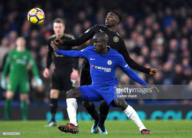 Golo Kante of Chelsea is challenged by Wilfred Ndidi of Leicester City during the Premier League match between Chelsea and Leicester City at Stamford...
