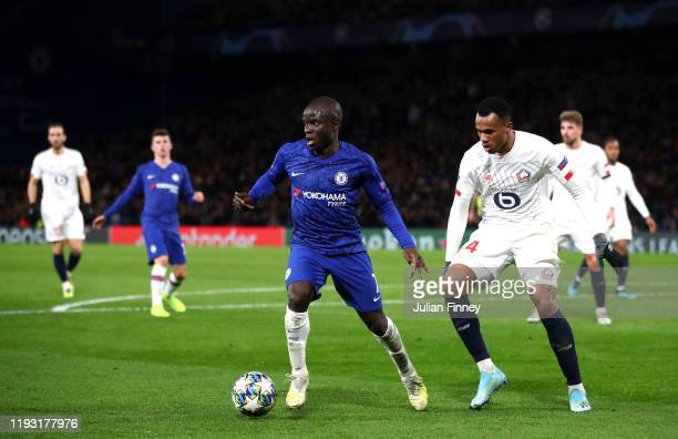 Golo Kante of Chelsea is closed down by Gabriel of Lille during the UEFA Champions League group H match between Chelsea FC and Lille OSC at Stamford...