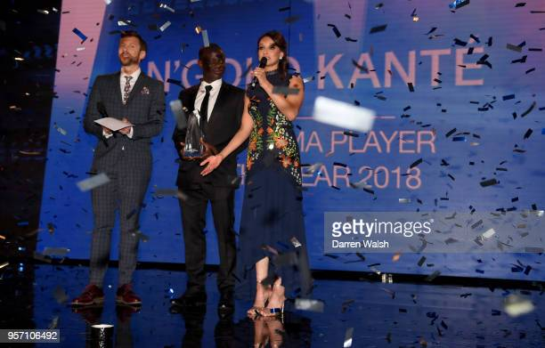 Golo Kante of Chelsea is presented with Player of the Year by Sam Matterface and Seema Jaswal during the Chelsea Player of the Year Awards at Olympia...
