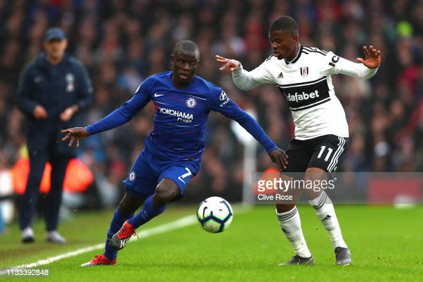 N'golo Kante of Chelsea is tackled by Floyd Ayite of Fulham during the Premier League match between Fulham FC and Chelsea FC at Craven Cottage on...