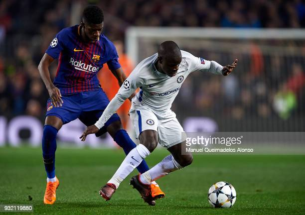 Golo Kante of Chelsea is tackled by Ousmane Dembele of Barcelona during the UEFA Champions League Round of 16 Second Leg match between FC Barcelona...