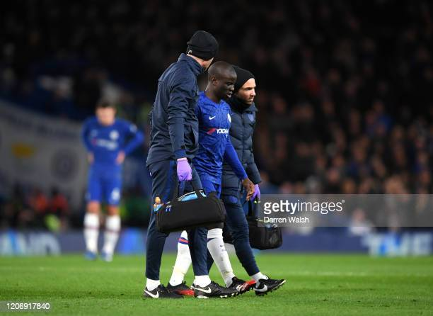 Golo Kante of Chelsea leaves the pitch following an injury during the Premier League match between Chelsea FC and Manchester United at Stamford...