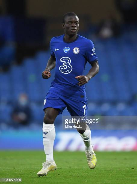 Golo Kante of Chelsea looks on during the Premier League match between Chelsea FC and Watford FC at Stamford Bridge on July 04, 2020 in London,...