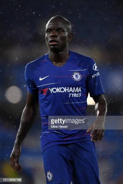 N'golo Kante of Chelsea looks on during the preseason friendly match between Chelsea and Lyon at Stamford Bridge on August 7 2018 in London England