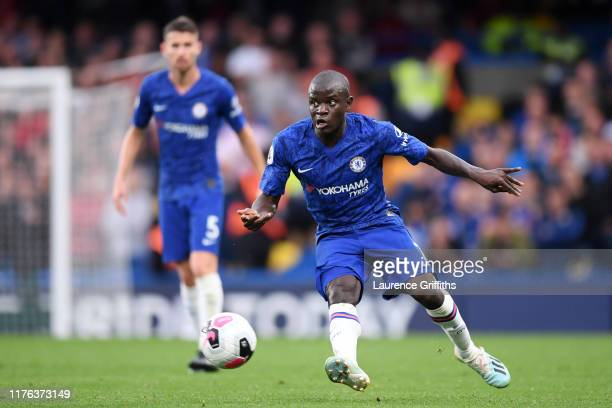 Golo Kante of Chelsea passes during the Premier League match between Chelsea FC and Liverpool FC at Stamford Bridge on September 22, 2019 in London,...