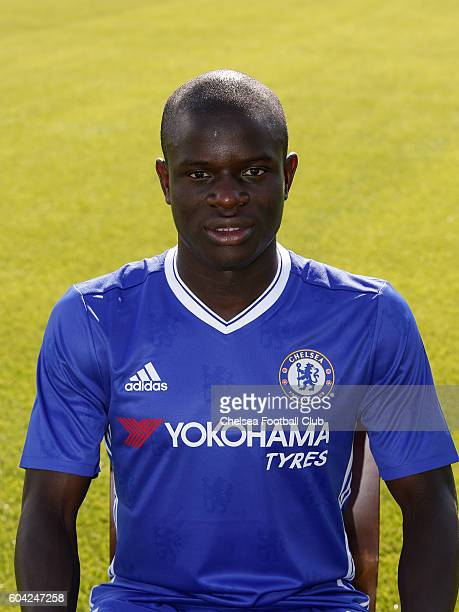 Golo Kante of Chelsea poses for the headshot at Chelsea Training Ground on September 13 2016 in Cobham England