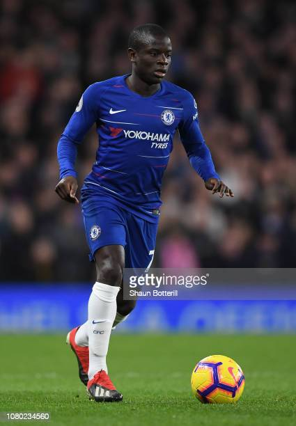 N'golo Kante of Chelsea runs with the ball during the Premier League match between Chelsea FC and Manchester City at Stamford Bridge on December 08...