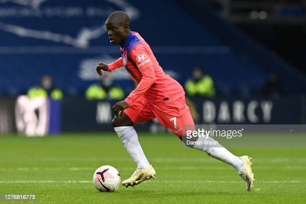 Golo Kante of Chelsea runs with the ball during the Premier League match between West Bromwich Albion and Chelsea at The Hawthorns on September 26...