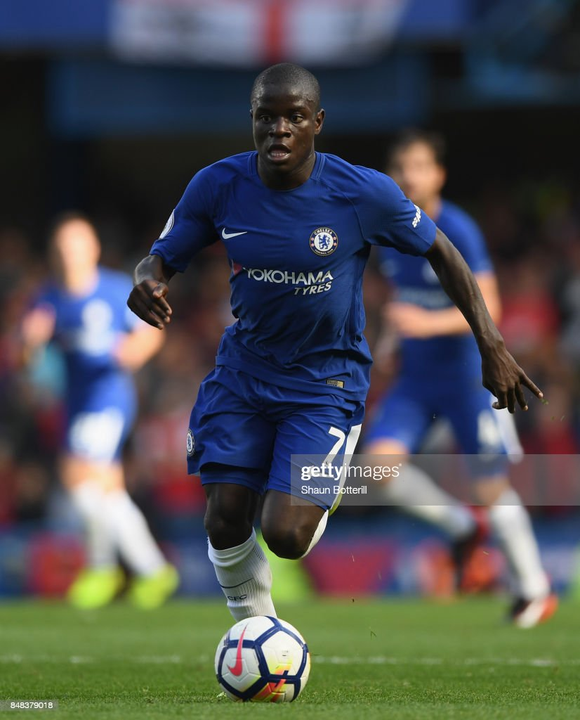 N'Golo Kante of Chelsea runs with the ball during the Premier League match between Chelsea and Arsenal at Stamford Bridge on September 17, 2017 in London, England.