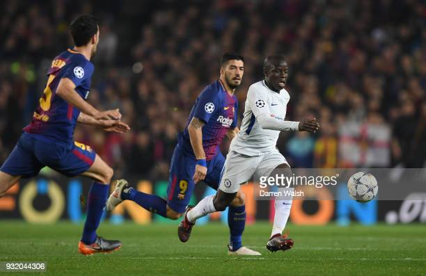 Golo Kante of Chelsea runs with the ball during the UEFA Champions League Round of 16 Second Leg match FC Barcelona and Chelsea FC at Camp Nou on...