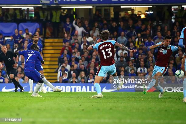 Golo Kante of Chelsea scores his side's first goal during the Premier League match between Chelsea FC and Burnley FC at Stamford Bridge on April 22...