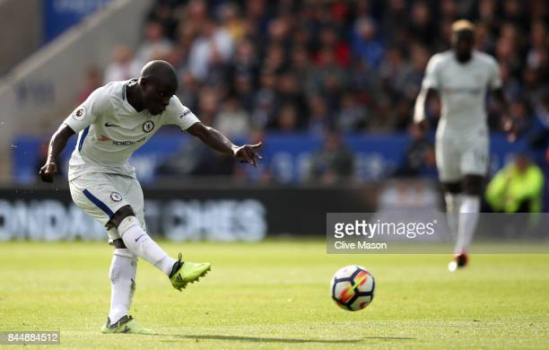 Golo Kante of Chelsea scores his sides second goal during the Premier League match between Leicester City and Chelsea at The King Power Stadium on...