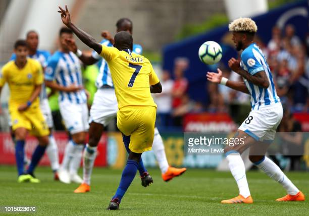 N'golo Kante of Chelsea scores his team's first goal during the Premier League match between Huddersfield Town and Chelsea FC at John Smith's Stadium...