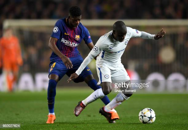 Golo Kante of Chelsea shields the ball from Ousmane Dembele of Barcelona during the UEFA Champions League Round of 16 Second Leg match FC Barcelona...