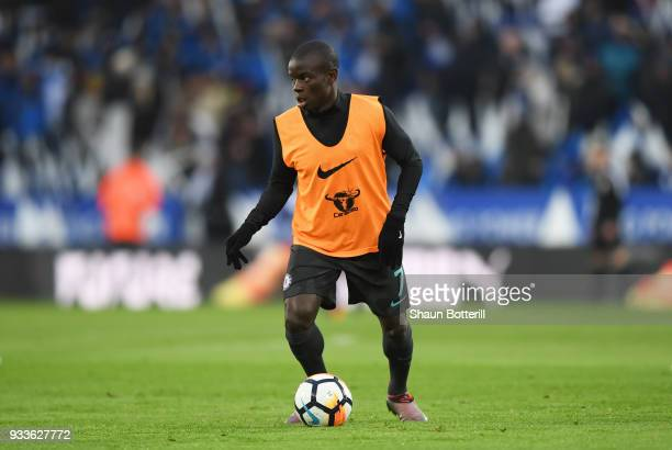 Golo Kante of Chelsea warms up prior to The Emirates FA Cup Quarter Final match between Leicester City and Chelsea at The King Power Stadium on March...