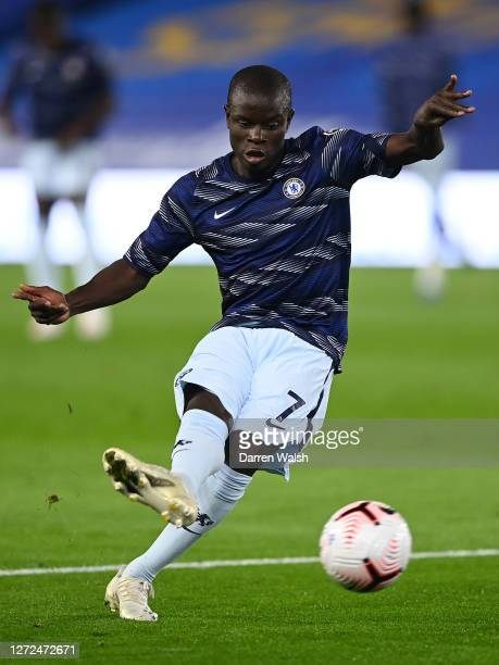 N'golo Kante of Chelsea warms up prior to the Premier League match between Brighton Hove Albion and Chelsea at American Express Community Stadium on...