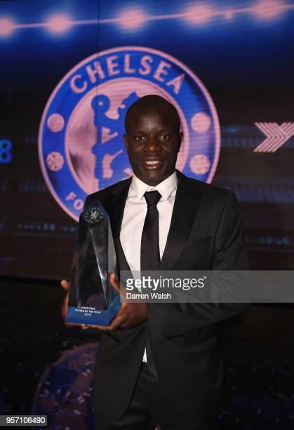 Golo Kante of Chelsea wins Player of the Year during the Chelsea Player of the Year Awards at Olympia London on May 10 2018 in London England