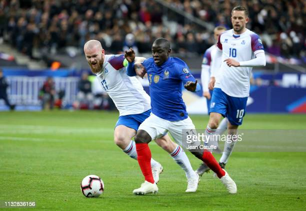 Golo Kante of France Aron Gunnarsson of Iceland during the 2020 UEFA European Championships group H qualifying match between France and Iceland at...