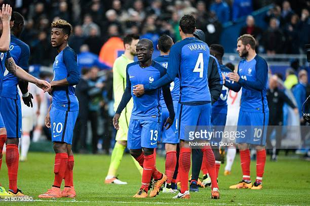 N'Golo Kante of France celebrates during the International friendly football match between France and Russia at Stade de France on March 29 2016 in...