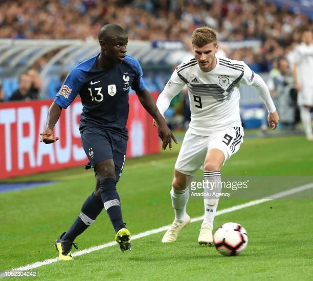 Golo Kante of France in action against Timo Werner of Germany during the UEFA Nations League A Group 1 match between France and Germany at Stade de...