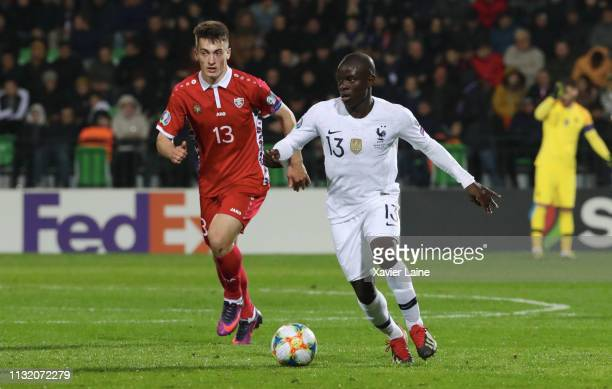 Golo Kante of France in action during the 2020 UEFA European Championships Group H qualifying match between Moldova and France at Zimbru Stadium on...