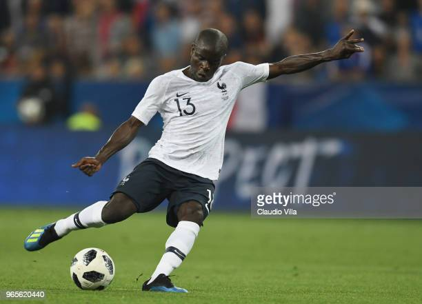 Golo Kante of France in action during the International Friendly match between France and Italy at Allianz Riviera Stadium on June 1 2018 in Nice...