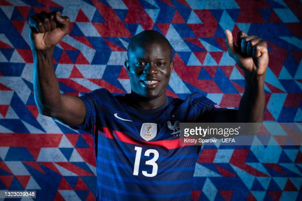 Golo Kante of France poses during the official UEFA Euro 2020 media access day on June 10, 2021 in Rambouillet, France.