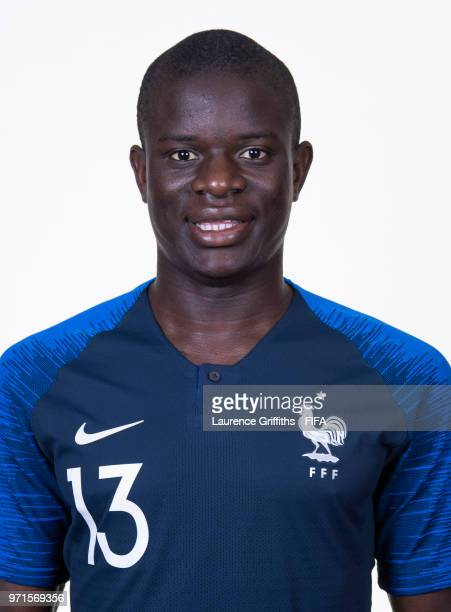 N'golo Kante of France poses for a portrait during the official FIFA World Cup 2018 portrait session at the Team Hotel on June 11 2018 in Moscow...