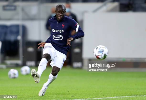 Golo Kante of France warms up prior to the UEFA Nations League group stage match between Sweden and France at Friends Arena on September 05 2020 in...