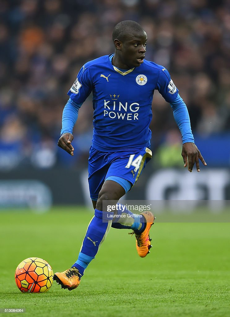 N'Golo Kante of Leicester City in action during the Barclays Premier League match between Leicester City and Norwich City at The King Power Stadium on February 27, 2016 in Leicester, England.