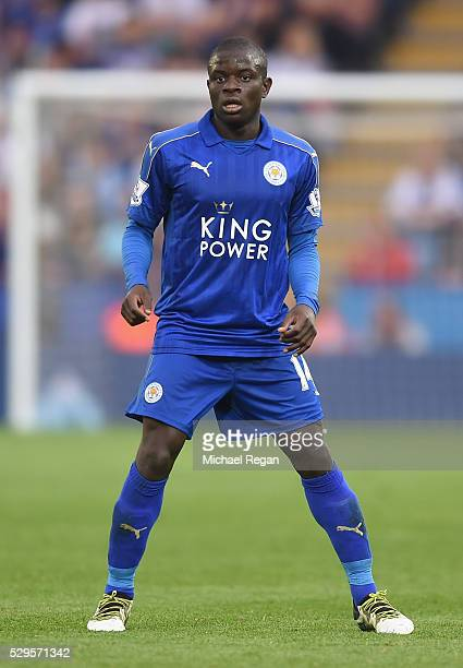 Golo Kante of Leicester City in action during the Barclays Premier League match between Leicester City and Everton at The King Power Stadium on May...