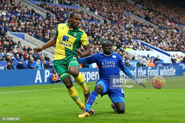 Golo Kante of Leicester City in action with Cameron Jerome of Norwich City during the Barclays Premier League match between Leicester City and...