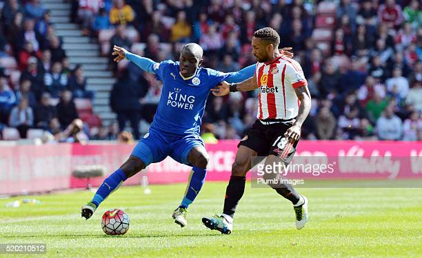 Golo Kante of Leicester City in action with Jermain Defoe of Sunderland during the Premier League match between Sunderland and Leicester City at the...