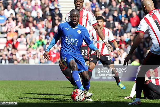 N'Golo Kante of Leicester in action during the Premier League match between Sunderland and Leicester City at the Stadium of Light on April 10 2016 in...