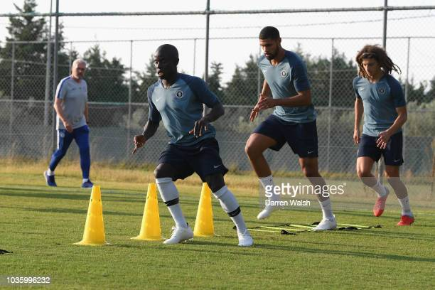 Golo Kante Ruben Loftus Cheek and Ethan Ampadu of Chelsea during a training session at Lolas Training Complex on September 19 2018 in Thessaloniki...