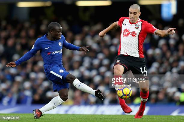 Golo Kantea of Chelsea nd Oriol Romeu of Southampton battle for posession during the Premier League match between Chelsea and Southampton at Stamford...