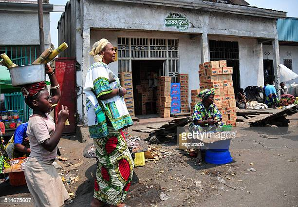 goma, democratic republic of the congo: street scene - democratic republic of the congo stock photos and pictures
